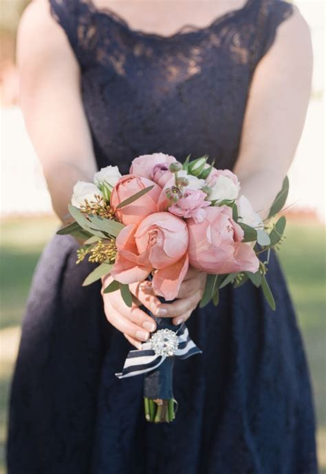 Southern Vintage Pink And Navy Wedding Bouquets
