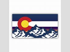 Colorado Flag Mountains Sunset Bumper Sticker Custom