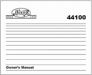 Honeywell Hunter 44100a Owner U0026 39 S Manual