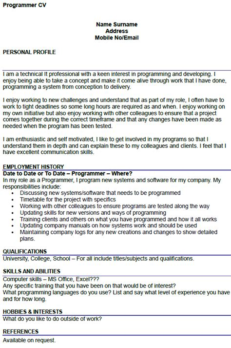 How To Do A Cv For A Exle by Programmer Cv Exle Icover Org Uk