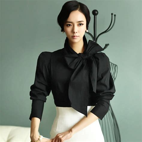 blouse with bow collar fasicat vintage big bow blouse roupas femininas camisas