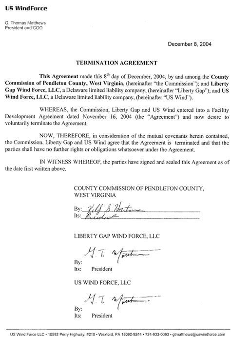 termination agreement business template