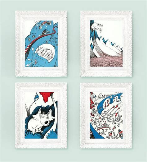 nursery set set of 4 vintage horton hears a who prints 6x9