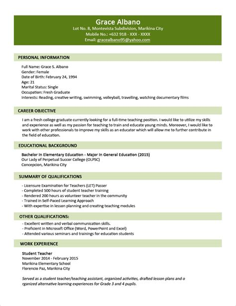 Graduate Resume Format by Exles Of Resumes Resume Exle Personal Simple