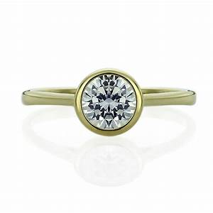 double accent 14k yellow gold wedding ring round cz With bezel set wedding ring
