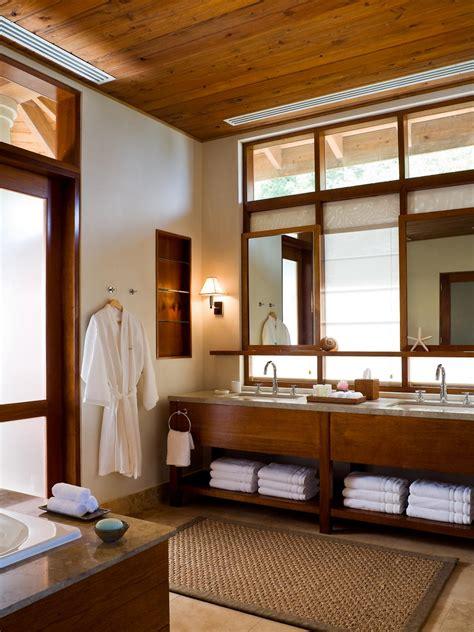spa  double vanity bathroom  wood plank ceiling hgtv