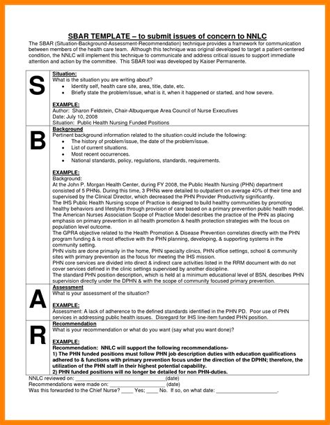 sbar nursing report template 7 sbar nursing report invoice exle