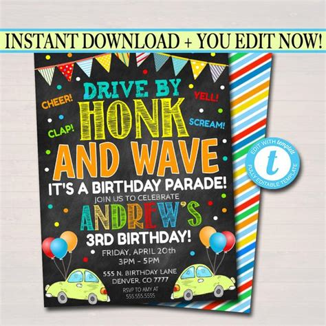 Drive By Birthday Parade Invitations TidyLady Printables