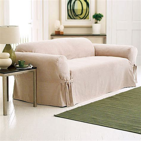 Sectional Sofa Slipcovers Walmart by Surefit Soft Suede Sofa Slipcover Taupe