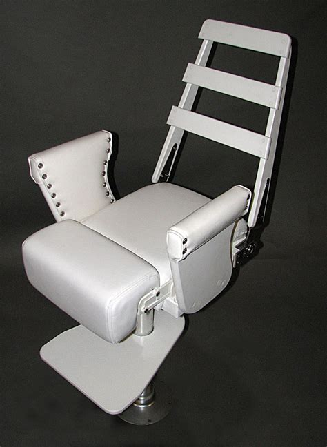 white polymer helm chair with stainless steel foot rest