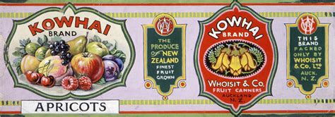 vintage crate  labels kowhai brand apricots packed