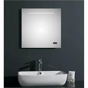 miroir de salle de bain lumineux a led et affichage de l39heure With miroir salle de bain avec heure