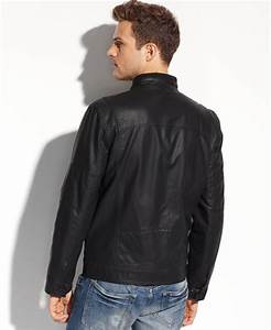 Guess Coats, Lightweight Faux Leather Moto Jacket in Black ...