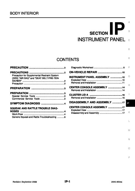 2010 Nissan Altima Sedan Owner's Manual Owners Manual