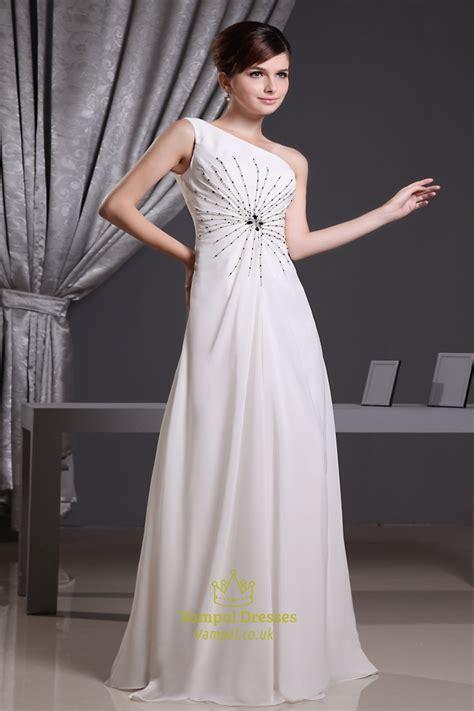 white grecian  shoulder chiffon prom dress long