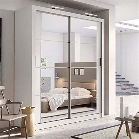 Modern Bedroom Mirror Sliding Door Matt White Wardrobe