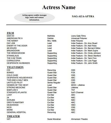 Entertainment Resume Template by Best 25 Acting Resume Template Ideas On
