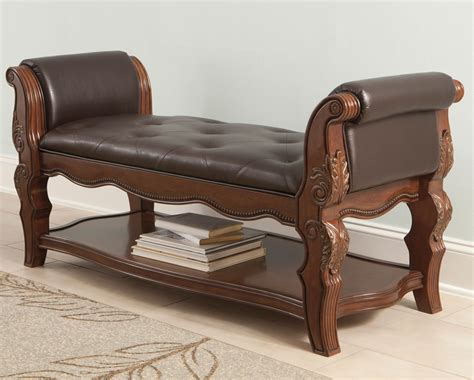 Upholstered Bed End Bench  Traditional Style Furniture