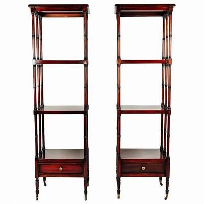 Display Shelves Wood Etageres Mahogany Pair Solid
