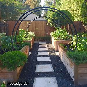 Raised, Beds, With, Arched, Trellises