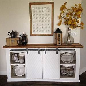 diy white buffet sliding door console project tutorial With buffet table with sliding doors