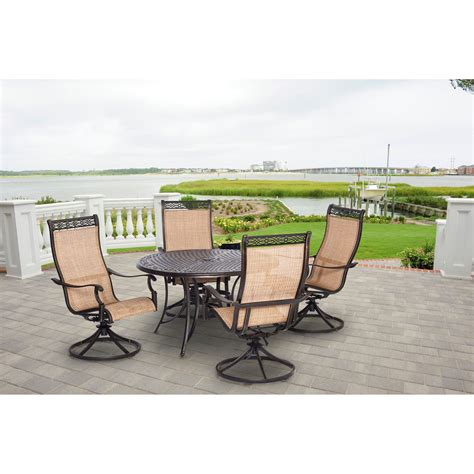 manor 5pc outdoor dining set with four swivel rockers