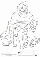 Clash Royale Clans Coloring Pages Hog Rider Drawings Printable King Coc Barbarian Lego F8 Azrael Dc Star sketch template