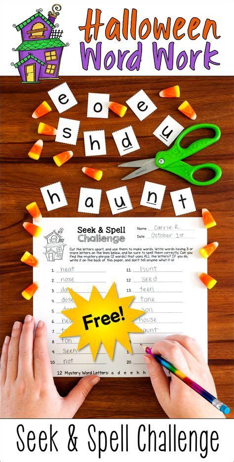 halloween word play seek spell fun  images