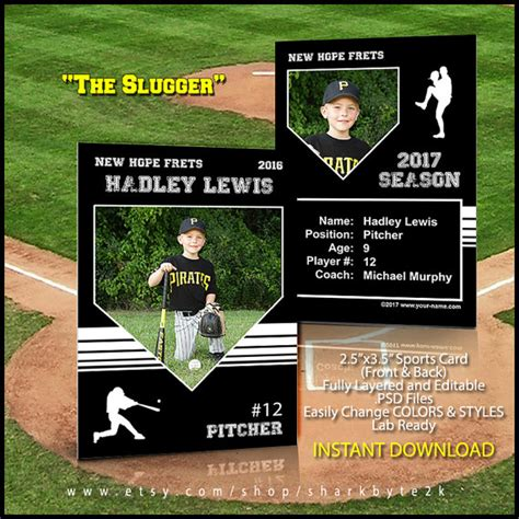 Baseball Card Template Baseball Card Template For Trading Cards For Your