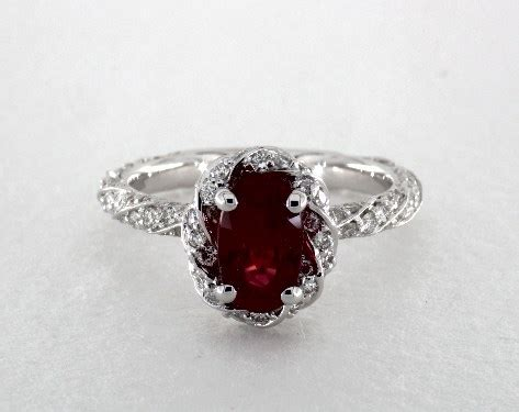 carat ruby oval cut halo engagement ring   white