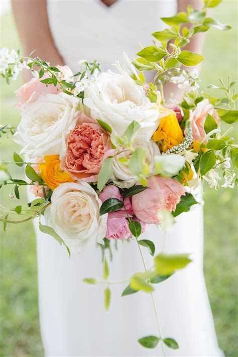 Organic Free Form Bouquet Garden Roses And Ranunculus