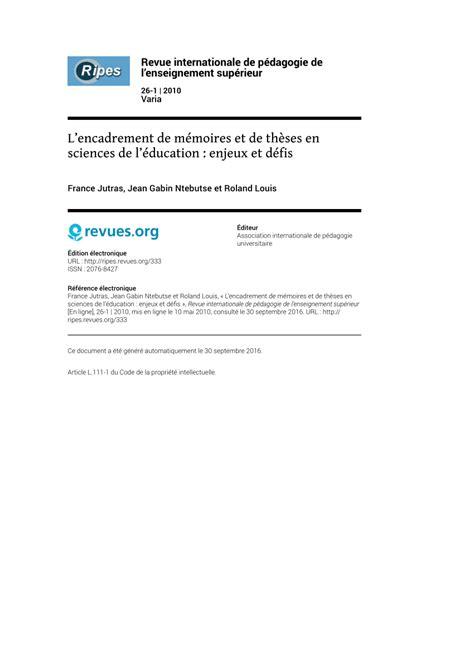 jean gabin université de sherbrooke l encadrement de m 233 moires et de th 232 ses en sciences de l
