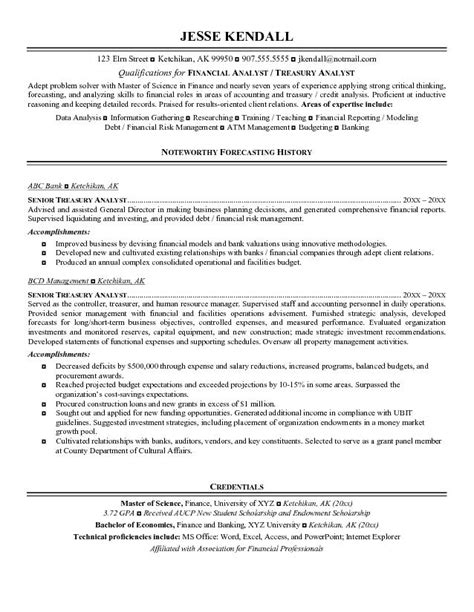 free treasury analyst resume exle