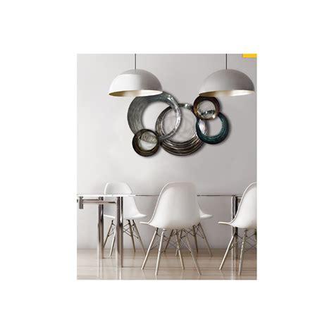 d 233 coration murale m 233 tal argent fonce en forme de cercles concentr 233 s