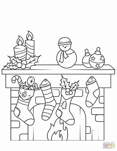 Clipart Fireplace Coloring Colorear Printable Chimenea Navidad