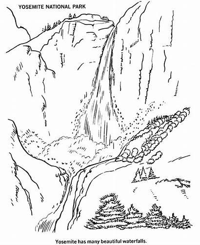 Coloring National Park Yosemite Glacier Falls Parks