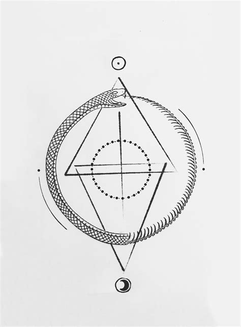 geometric ouroboros tattoo designed by ben ellenbecker @bonemarrow__ balance. alchemy symbol