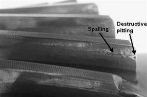 Photograph Of The Pitted Gear Teeth  Note  Spalling And