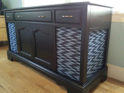 diy record player cabinet refurbished old stereo console spray adhesive to attach