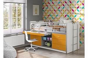 Lit Combiné Bureau : lit combin 7 coloris au choix bureau et rangement jack ~ Premium-room.com Idées de Décoration