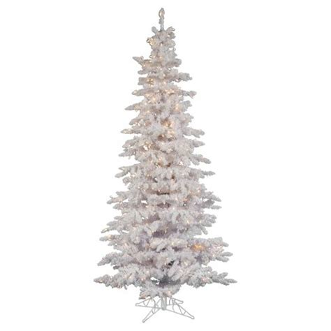 7 5 ft flocked white slim artificial christmas tree with clear lights target
