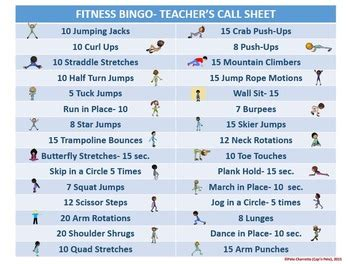 fitness bingo   bingo cards  teacher tools