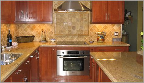 Gold Granite Kitchen Countertops with Oak Cabinets