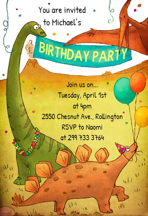 dinosaur birthday invitation template