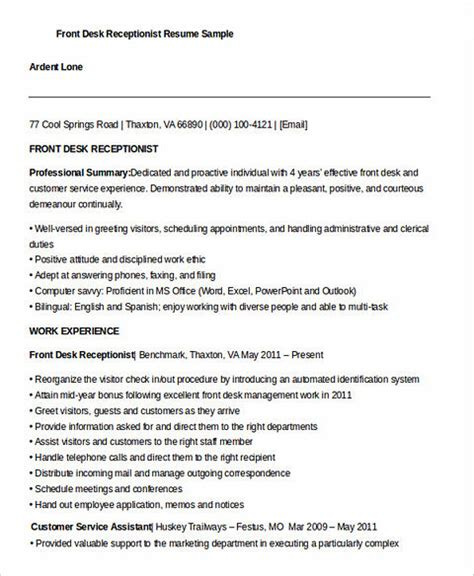 Front Desk Resume by Receptionist Resume For Successful Applicants