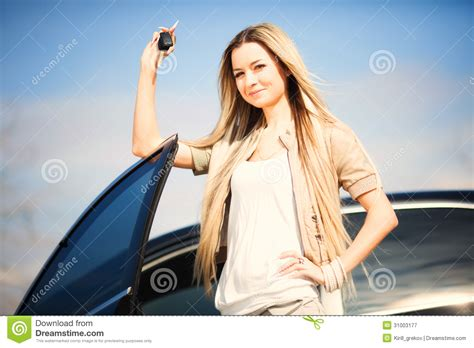 Girl With Car Key Stock Image. Image Of Excited, Girl
