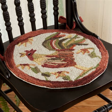 rooster hooked chair pads rooster hooked chair pad sturbridge yankee workshop