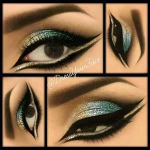 Gold, Blue, & Teal Glitter Eyes | Cleopatra makeup ...