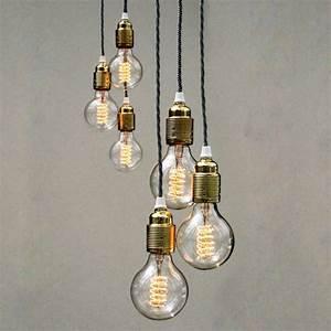 Pendant lighting bulbs : Set of three bulb pendant lights by unique s co