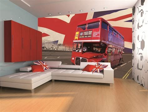 wall red london bus wall mural